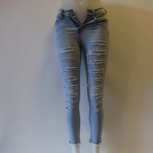 FLYING MONKEY RIPPED DISTRESSED CROPPED JEANS 25 *